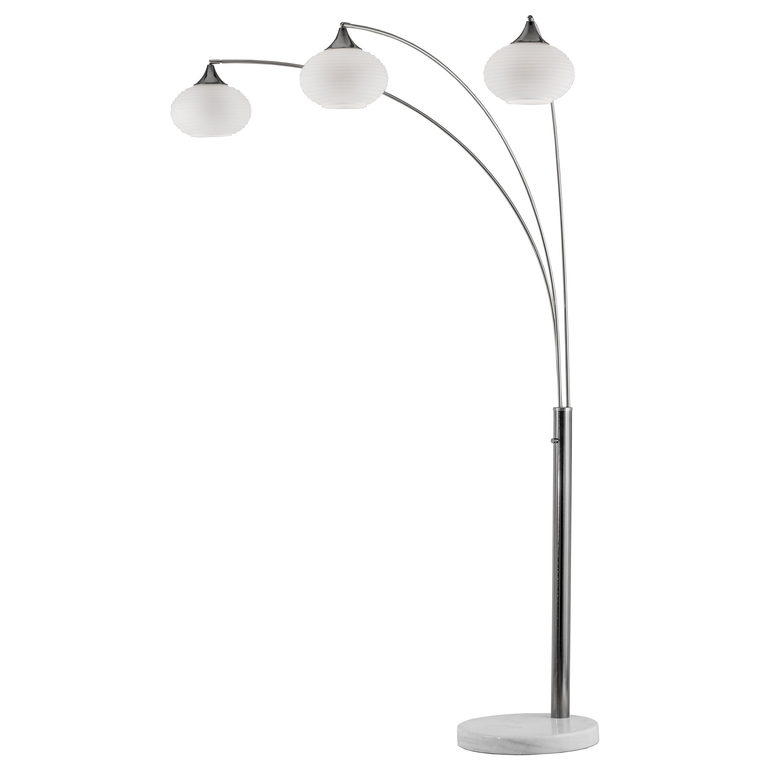 The Genie arc lamp by Nova features three separate arms topped with frosted glass for a soft light and elegant look. The nickel-finished arc stand is accented with a white marble base for a clean and sleek design.