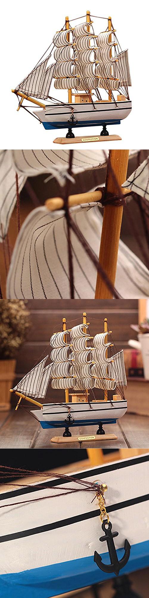 Kangkang@ Wooden Ship Model Miniatur Marine Wood Maritime Boat Nautical  Sailing Ship Home Desk Decoration