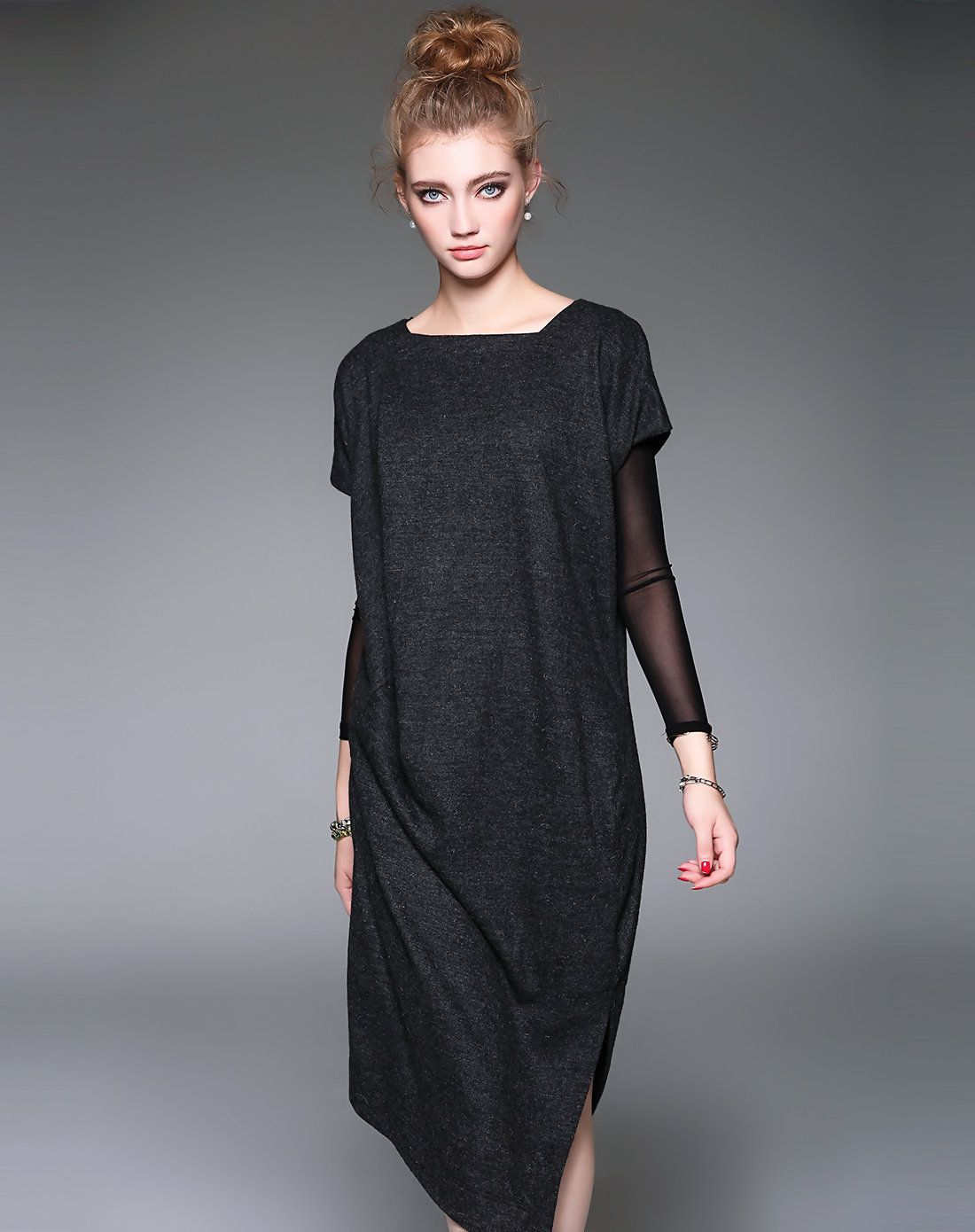 bef4fcc80dd9  AdoreWe  VIPme Shift Dresses - D.Fanni Cap Sleeve Black Woolen Fall Winter  H