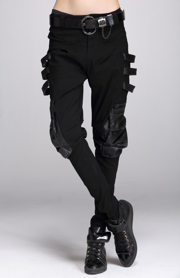 f3b461a8813c8 Lady Punk Harem Pants Rave Gothic Leather Pocket Visual Rock Pencil ...