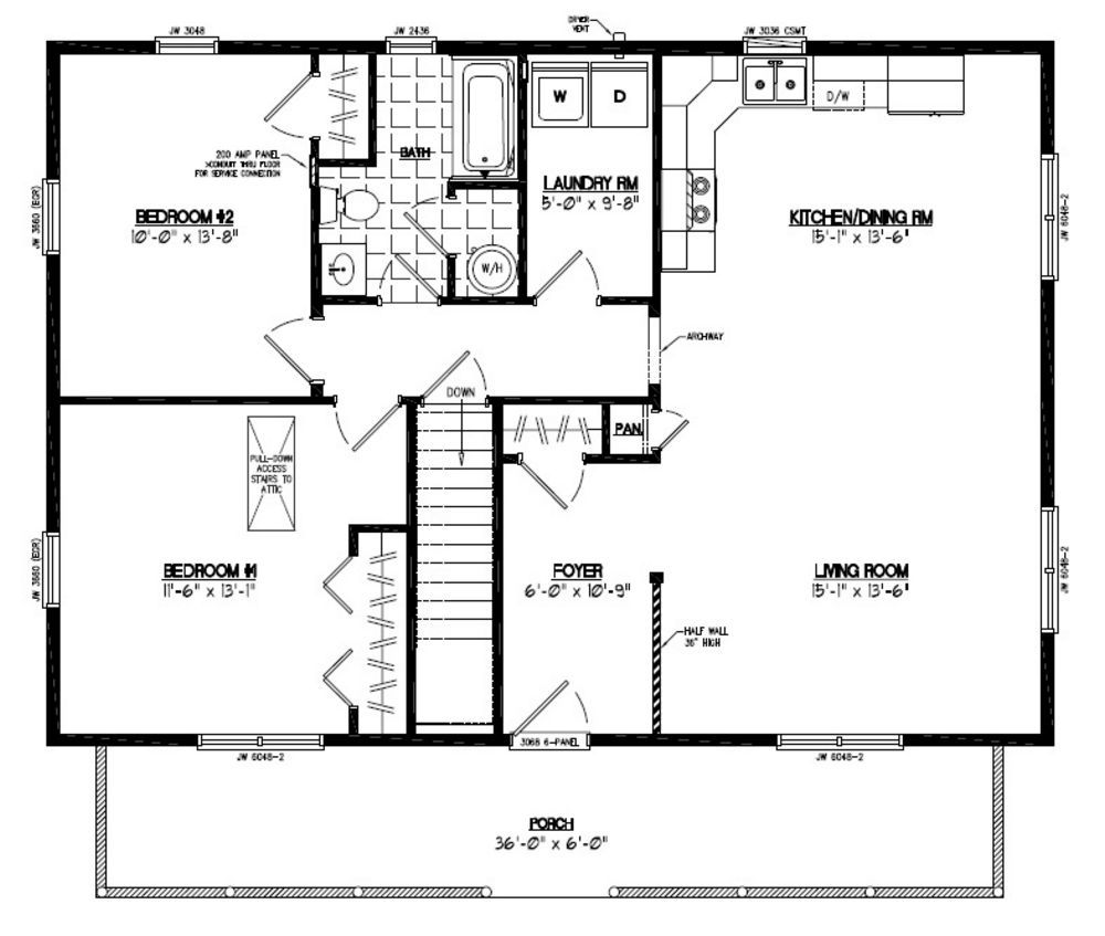 Floor plan for a 28 x 36 cape cod house house plans Pole barn house plans with basement
