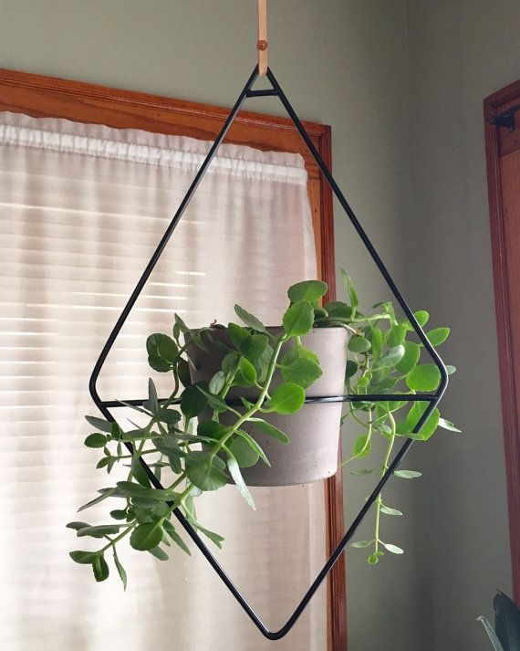 The Fernie Diamond Hanging Planter Leather Strap Plant Etsy Hanging Plants Plant Hanger Hanging Plants Diy