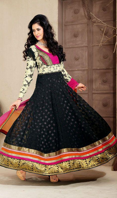 Black Embroidered Georgette Long Anarkali Suit #Indiandresses #Partywear-SalwarSuit