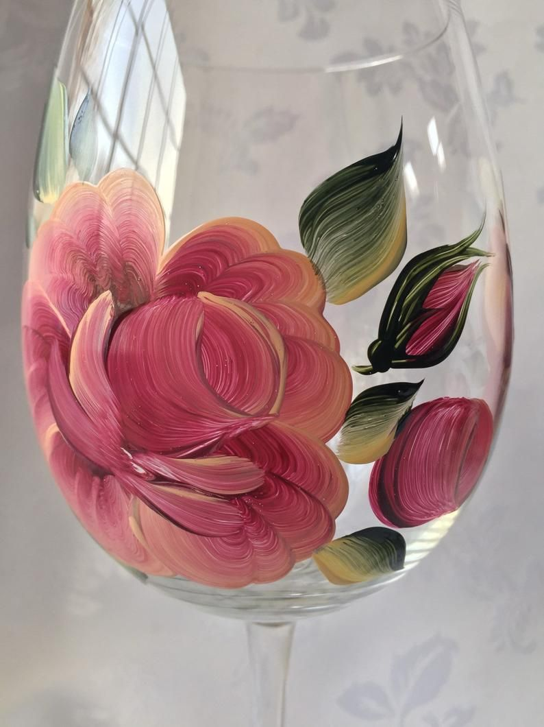 Set Of Two Handpainted Roses And Butterflies Oversized Wine Etsy In 2020 Hand Painted Stemless Wine Glasses Painted Wine Glass Decorated Wine Glasses