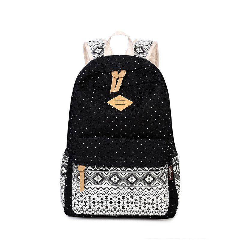 0036095cd2f3 Korean Canvas Printing Backpack Women School Bags for Teenage Girls ...