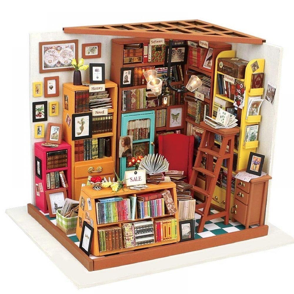 DIY Mini Holz Puppenhaus Modell in Bilderrahmen Miniatur Möbel Bausätze