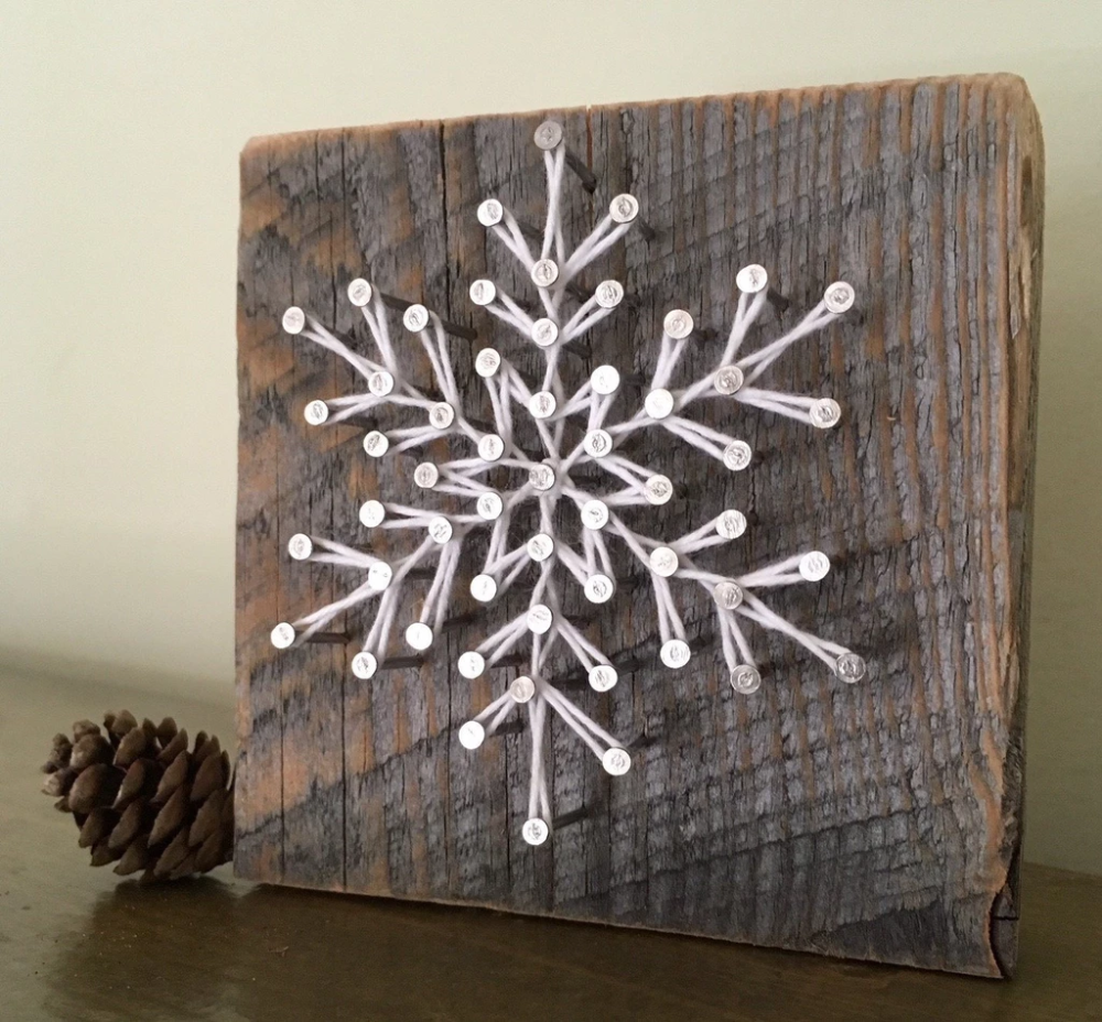 American-made Frosty Snowflake Block by Nail it Art #winterdecor