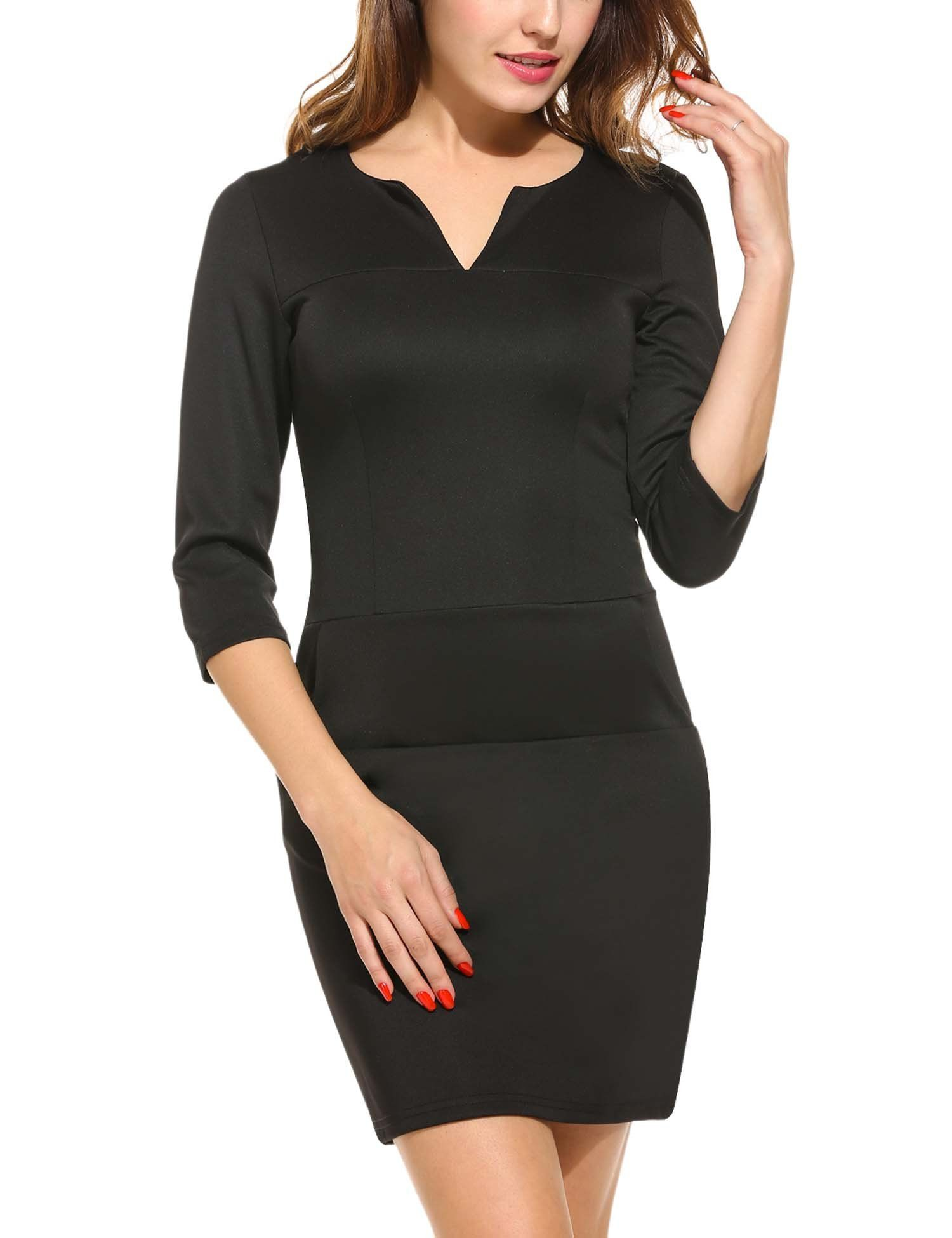 ANGVNS Womens Office Work Business Cocktail Party Bodycon Pencil Dress