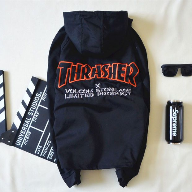 3b35d0bcff05 Thrasher x Volcom Stone Age Limited Product Black Windbreaker Jacket ...