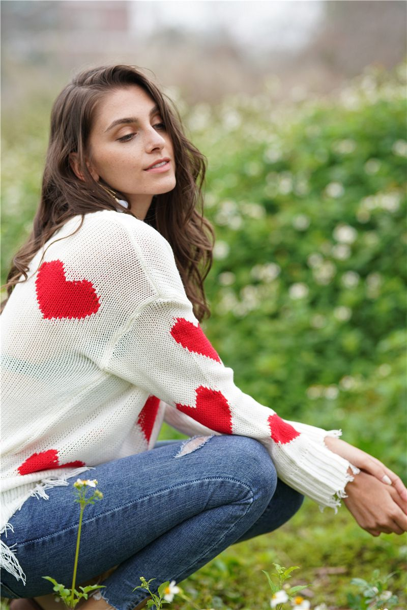 Christmas V Neck Love Print Knit Sweaters For Women #casualchristmasoutfitsforwomen