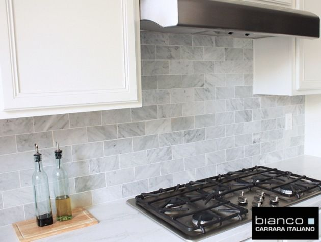 7 50sf Carrara Bianco 3x6 Quot Marble Subway Kitchen Backsplash Tile From Thebuilderd Marble