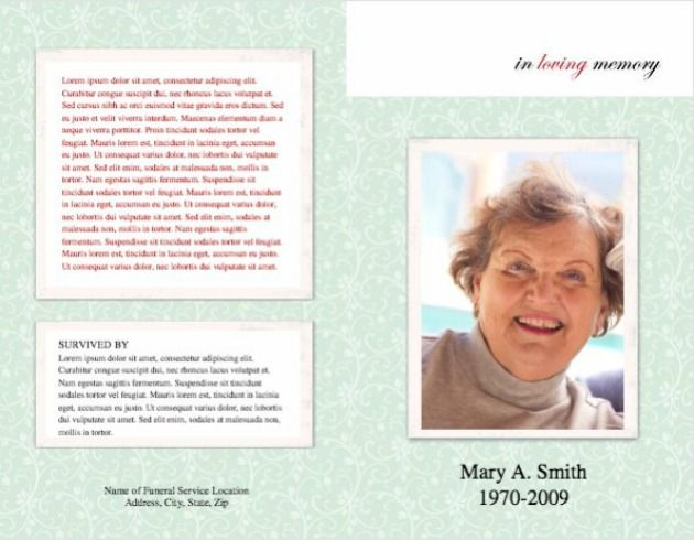 Funeral Program Template 6 - Back and Front Covers | Memorials ...