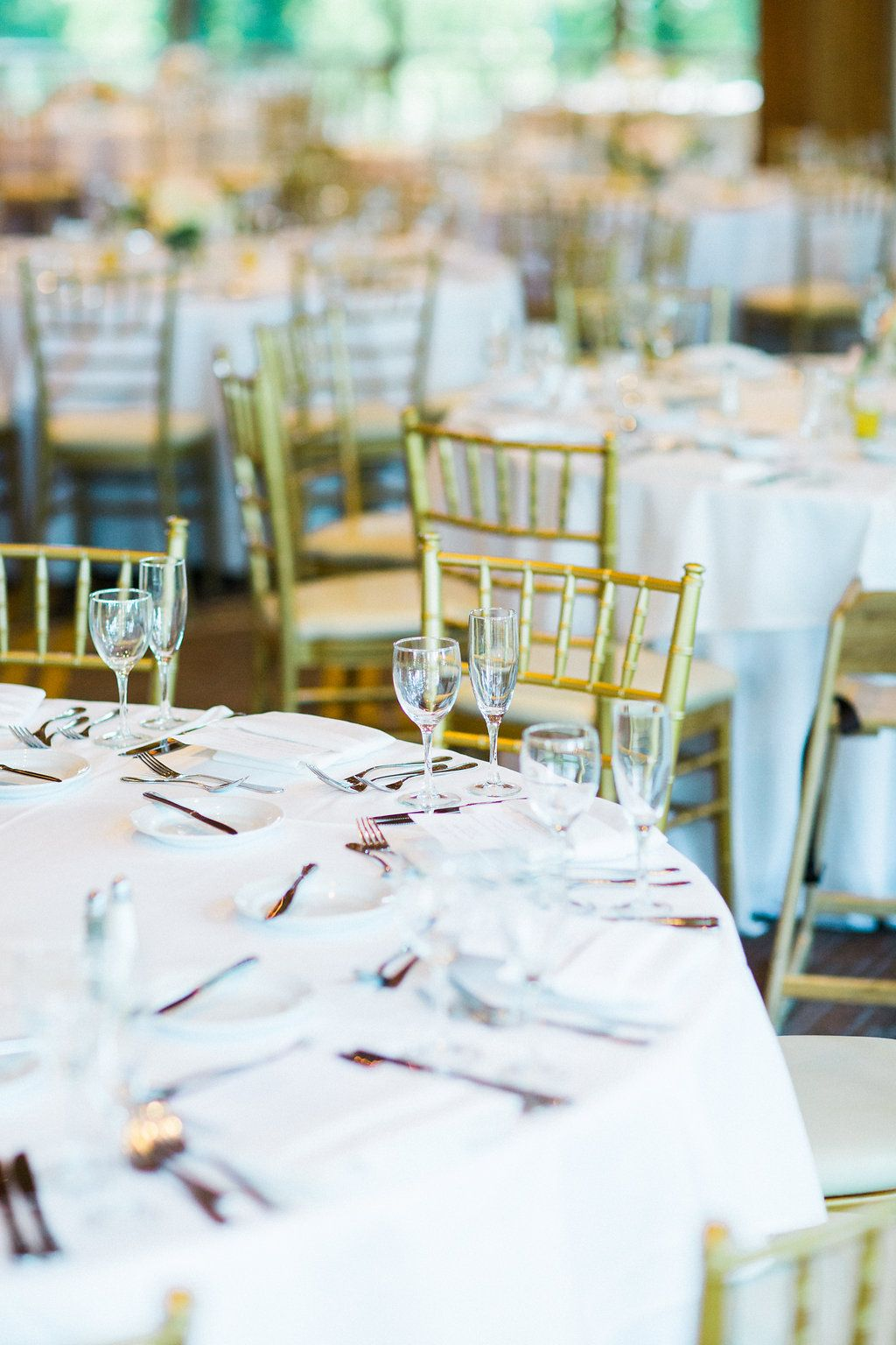 Classic gold chairs and tablescape. (Photo by Booth Photography ...