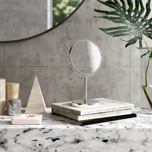 Swivel Table Makeup Shaving Mirror Wayfair Basics Size 26cm H X 15cm W Finish White Kosmetikspiegel Standspiegel Spiegel