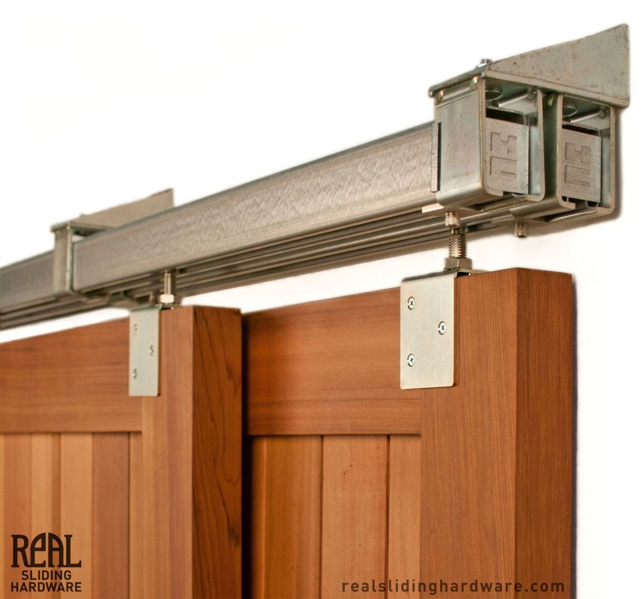 Heavy duty industrial bypass box rail barn door hardware for Exterior sliding barn door hardware
