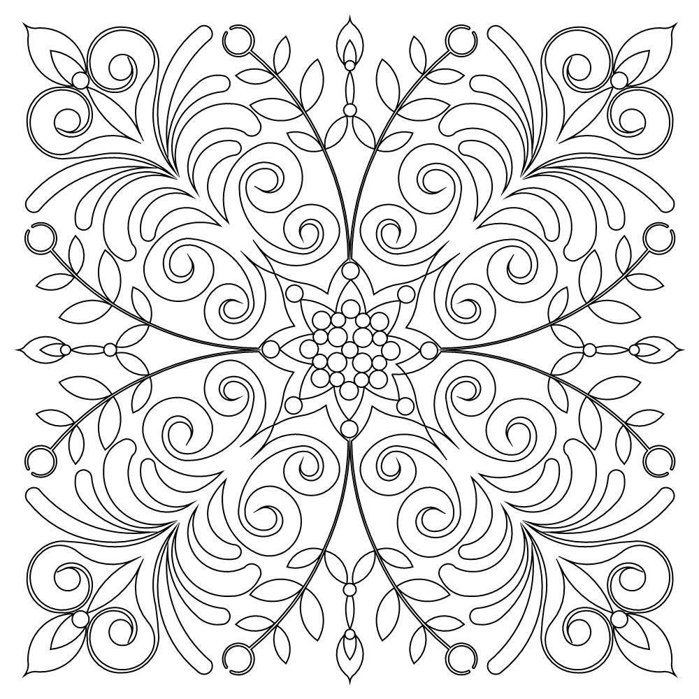 Harmony Block 007 Coloring Pages Quilting Designs Black White Lines