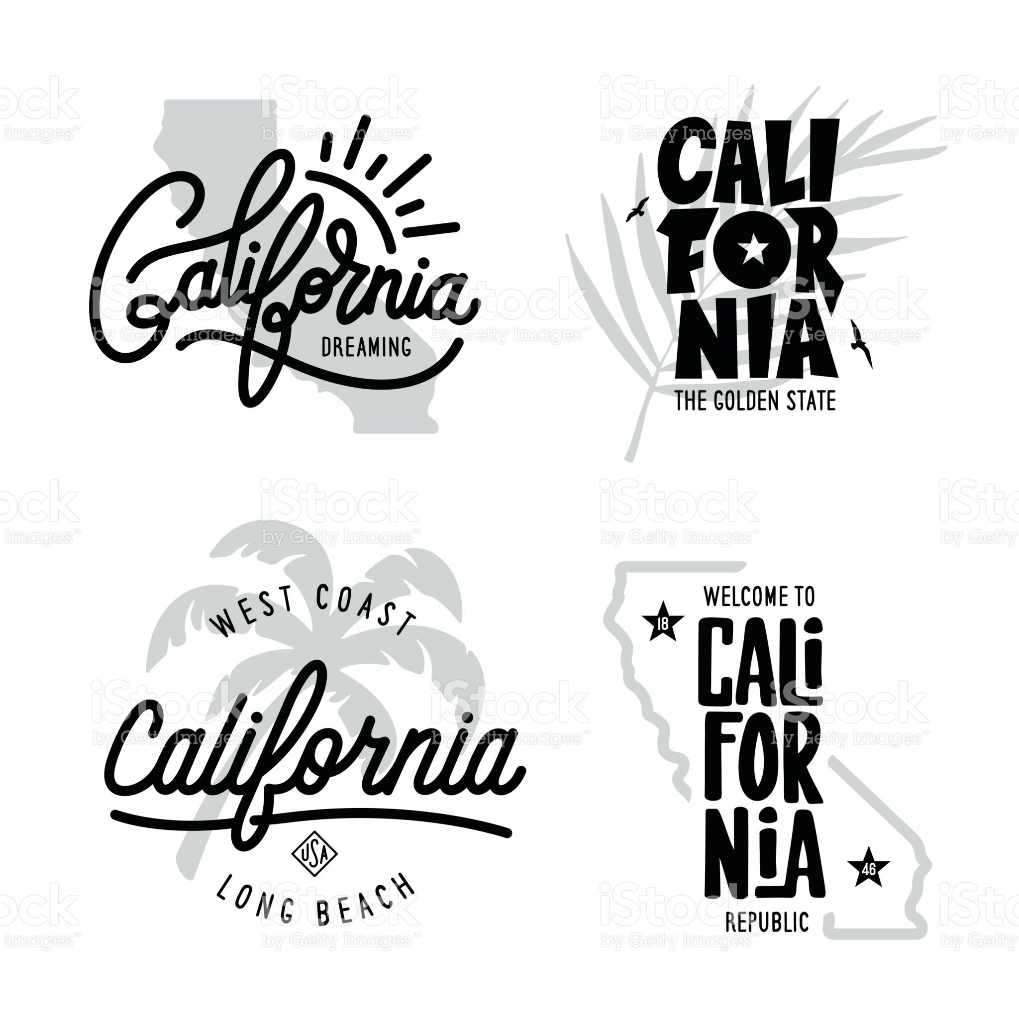 Download California related t-shirt vintage style graphics set ...