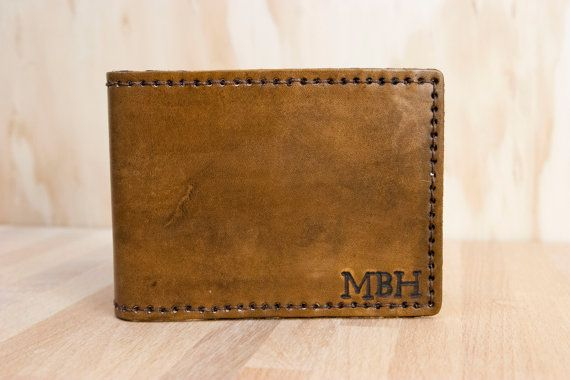 Wallet - Mens Custom Leather Monogram Wallet - Bifold in antique brown leather