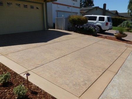 New Stamped Concrete Driveway Like Banded Edge Think No Color In
