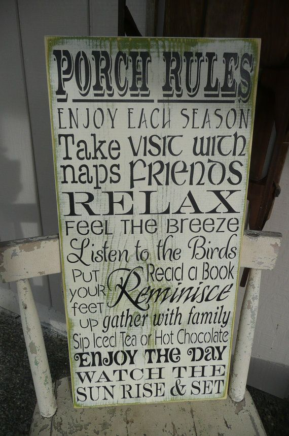 PORCH RULES//Hand Painted Wood Sign// Front Door// Home Decor// Welcome Sign// 12 x 24/ Maria'sMakeryEtc #relaxingsummerporches