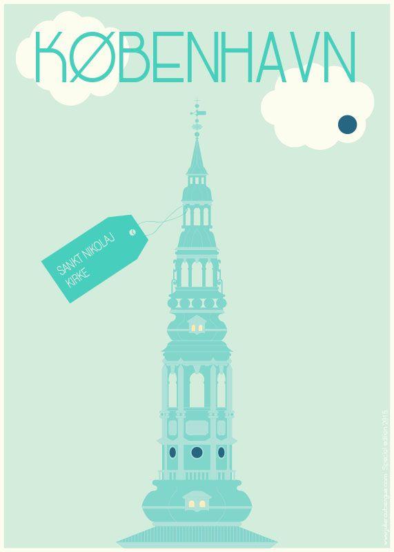 Sankt Nikolaj Kirke Mint Dot - Poster 50x70cm or 30x40cm