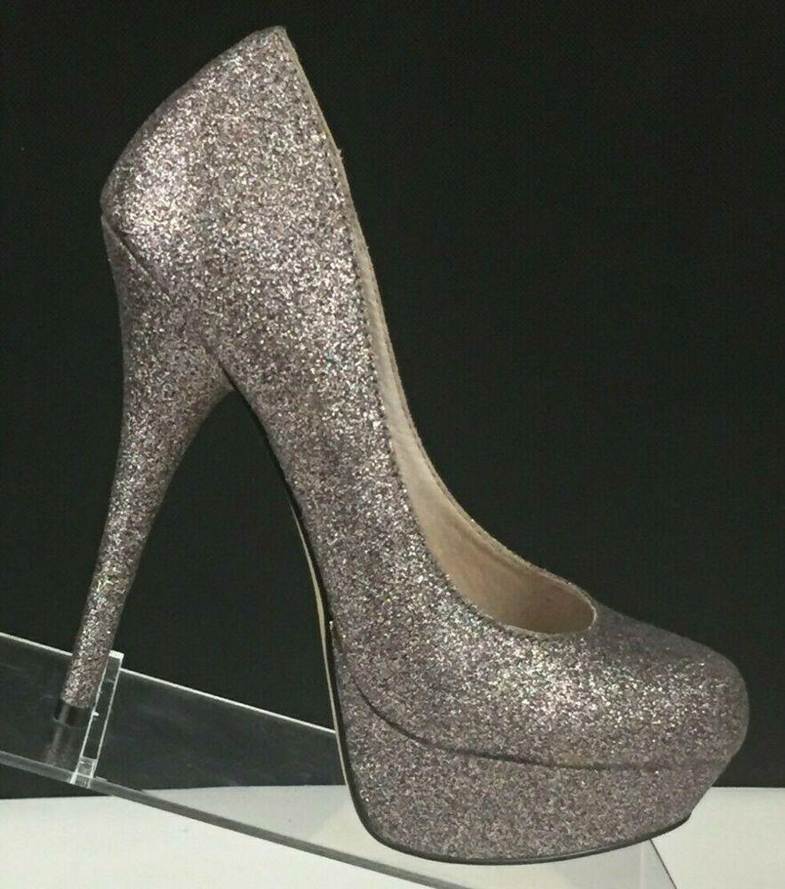 Steve Madden pink sparkly glitter platform heels