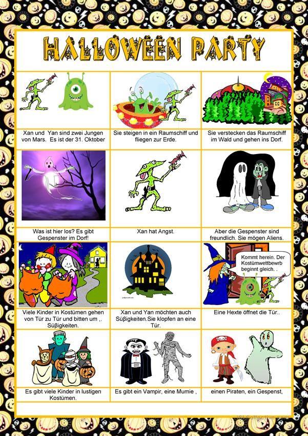 Eine Halloween Party - Einfache Texte | Hallo, Kinder, wir lernen ...