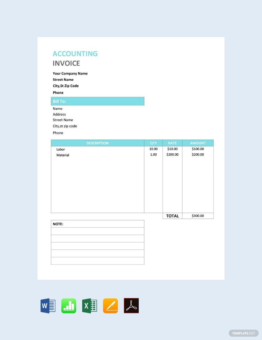 Free Accounting Service Invoice Invoice Template