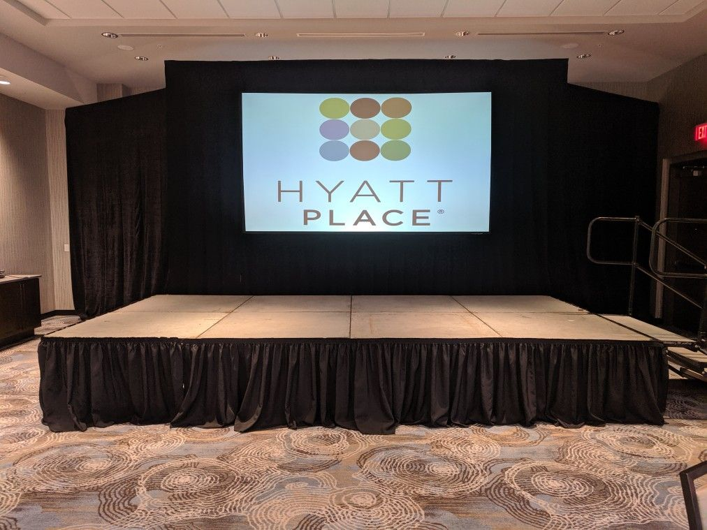 8x16 stage Platform meaning, Event rental, Flat screen