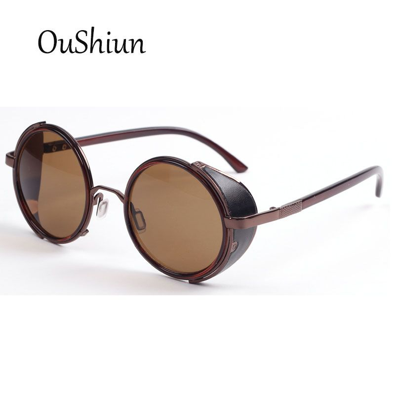 Gothic Round Steampunk Sunglasses Women Fashion 2016 Brand New Retro Vintage Mirror Circle Sun Glasses Metal Designer Eyewear QWO0jLuREK