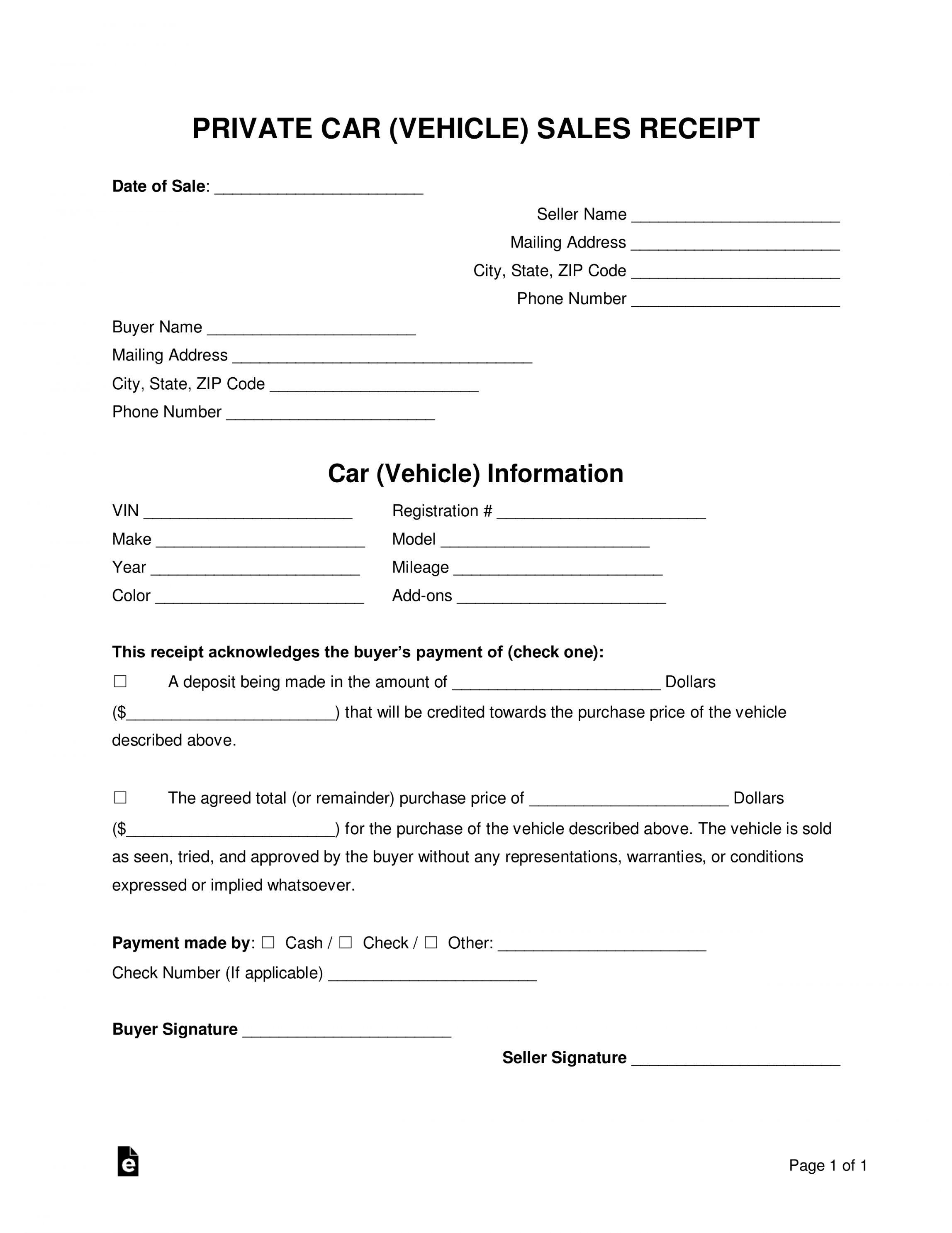 Explore Our Sample Of Private Car Sale Receipt Template Receipt Template Invoice Template Word Template