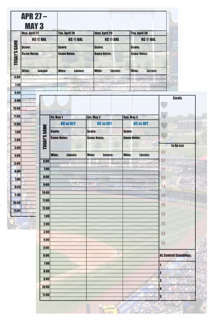 Kansas City Royals 2020 Daily Planner Baseball Fan Calendar Printable 8 5 X 11 Instant Download Kansas City Royals New York Yankees Toronto Blue Jays