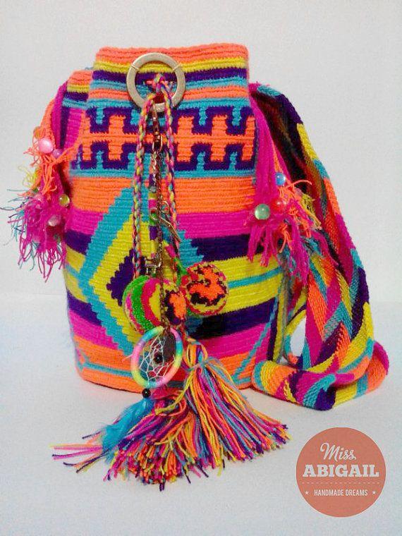 Colorful adorned wayuu mochila | Wayuu | Pinterest