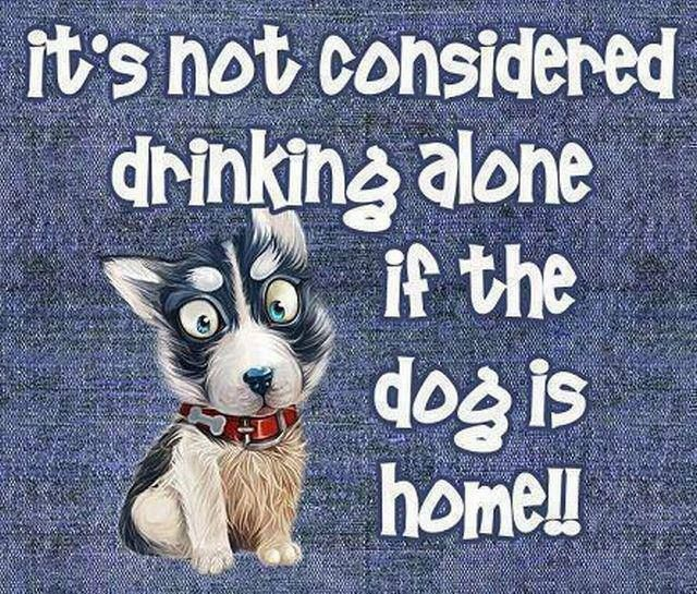 It's Not Considered Drinking Alone If The Dog Is Home