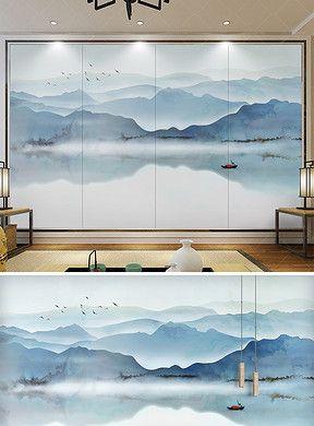 电视背景墙绘画囹�a_新中式中国风意境水墨山水电视沙发背景墙|Walldesign,Walldecor