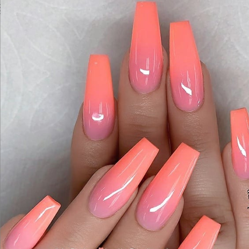 peach pink Gel coffin nails long, natural gel nails design, gel nails design ideas, gel nails color, summer nails , spring nails, classy coffin nails …