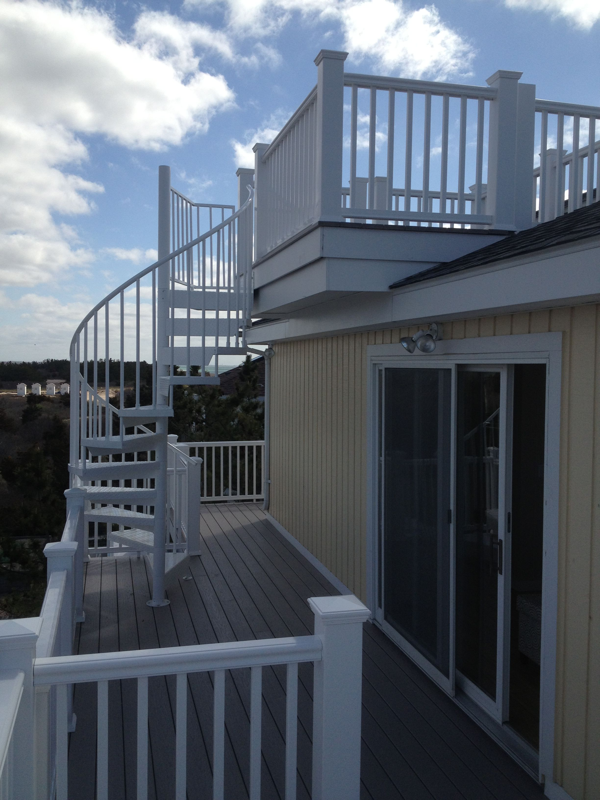 Aluminum Powder Coated Spiral Stair From A Rooftop Deck Stairs | 36 Inch Spiral Staircase | Stair Case | Steel | Steps | Tread Depth | Handrail