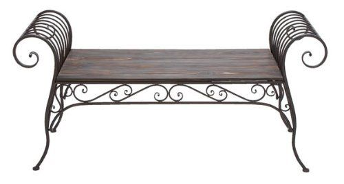 219 Classy Metal Wood Bench By Exclusive Decor Http Www Amazon Com Dp B006kt452y Ref Cm Sw R Pi Dp Pkz Qb1rw7c8t Wrought Iron Bench Wood Bench
