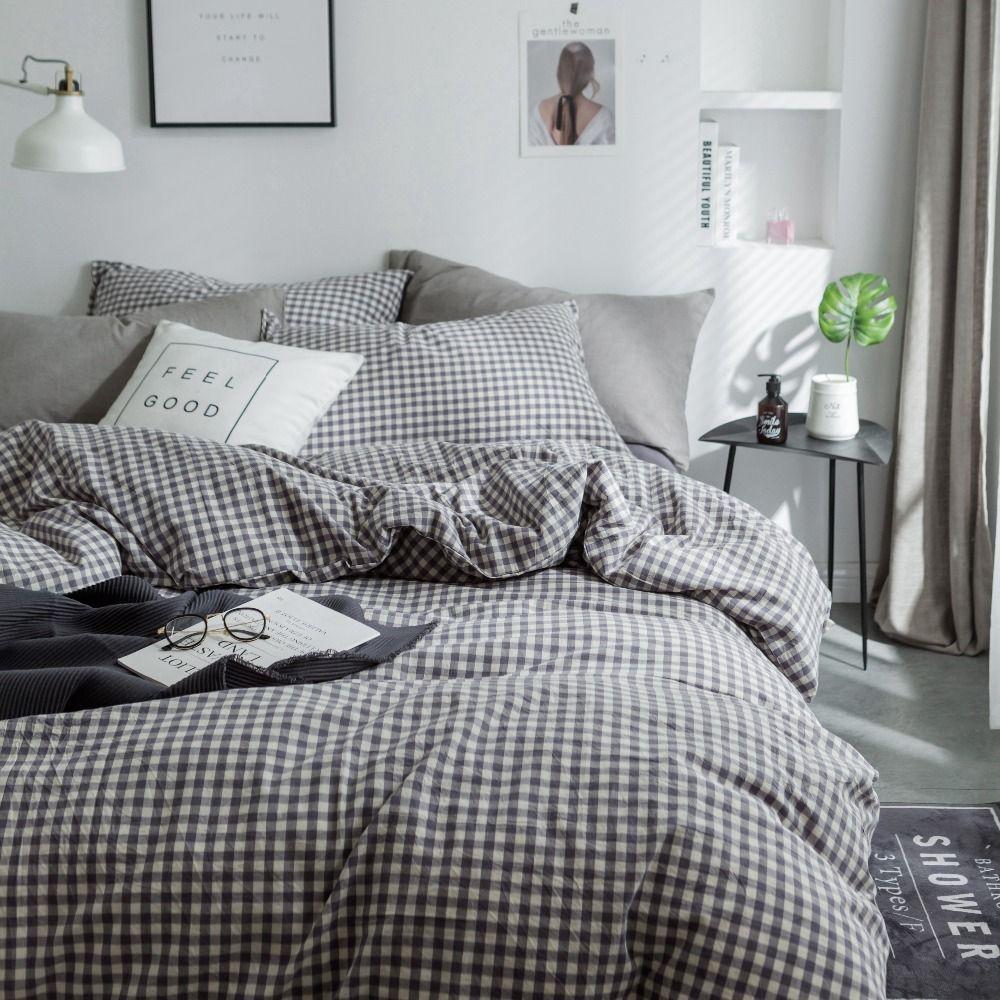 Plaid Bedding Modern Bed Linen Kids Bedsheet Set Bedding Cover 100 Cotton Bedding Set Queen Size Bed Cover Plaid Bedding Modern Bed Linen Queen Size Bed Covers