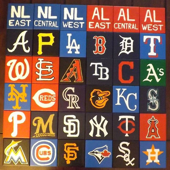 Hand Painted Coaster Set For All Mlb Teams And Divisions All Logos Trademark Of The Mlb And Its Teams All Mlb Teams Mlb Teams Baseball League