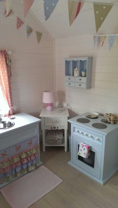 Playhouse interior evie 39 s cottage pinterest for Wooden wendy house ideas