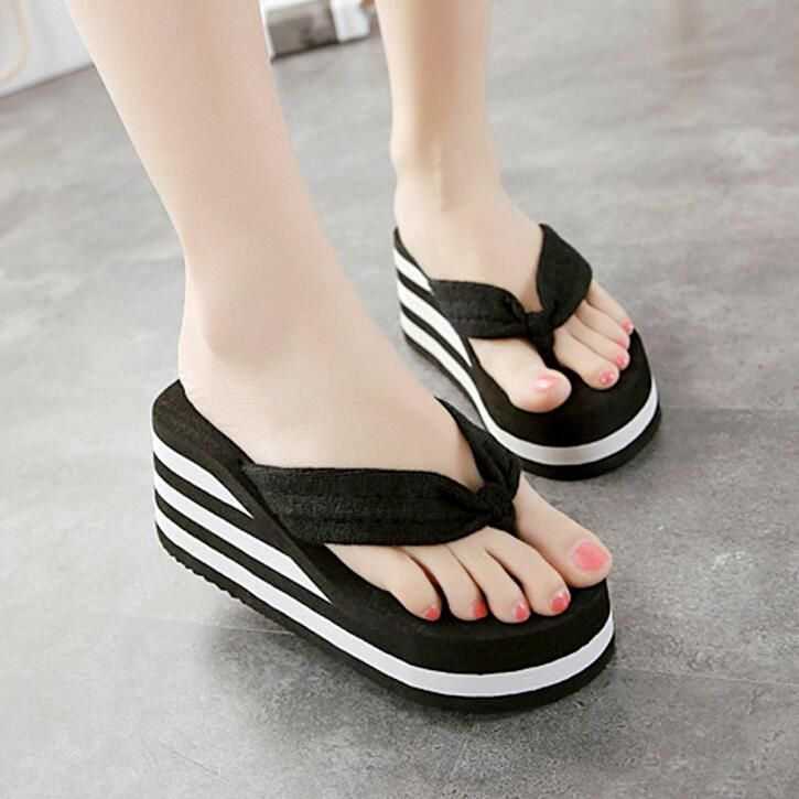 55471909c34b 6cm flip flop wedges heels summer sandals slippers woman shoes women girls  beach shoe light bottom platform simple type