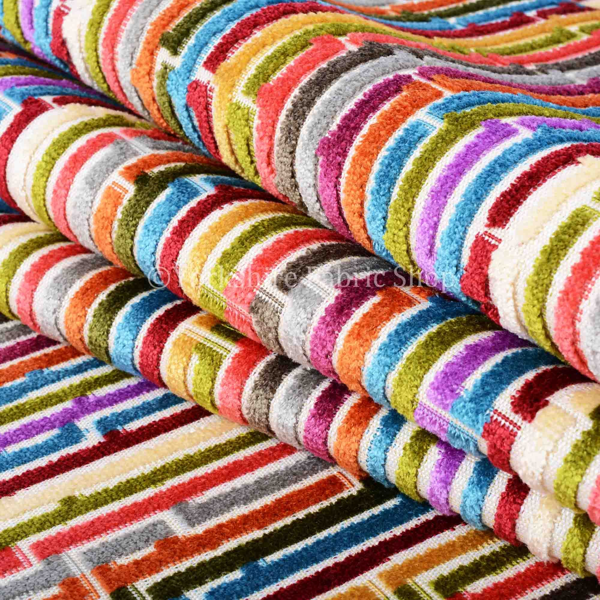Multi Coloured Geometric Line Striped Designer Pattern Soft Velvet Upholstery Fabric Jo 231 Upholstry Fabric Upholstery Fabric Geometric Upholstery