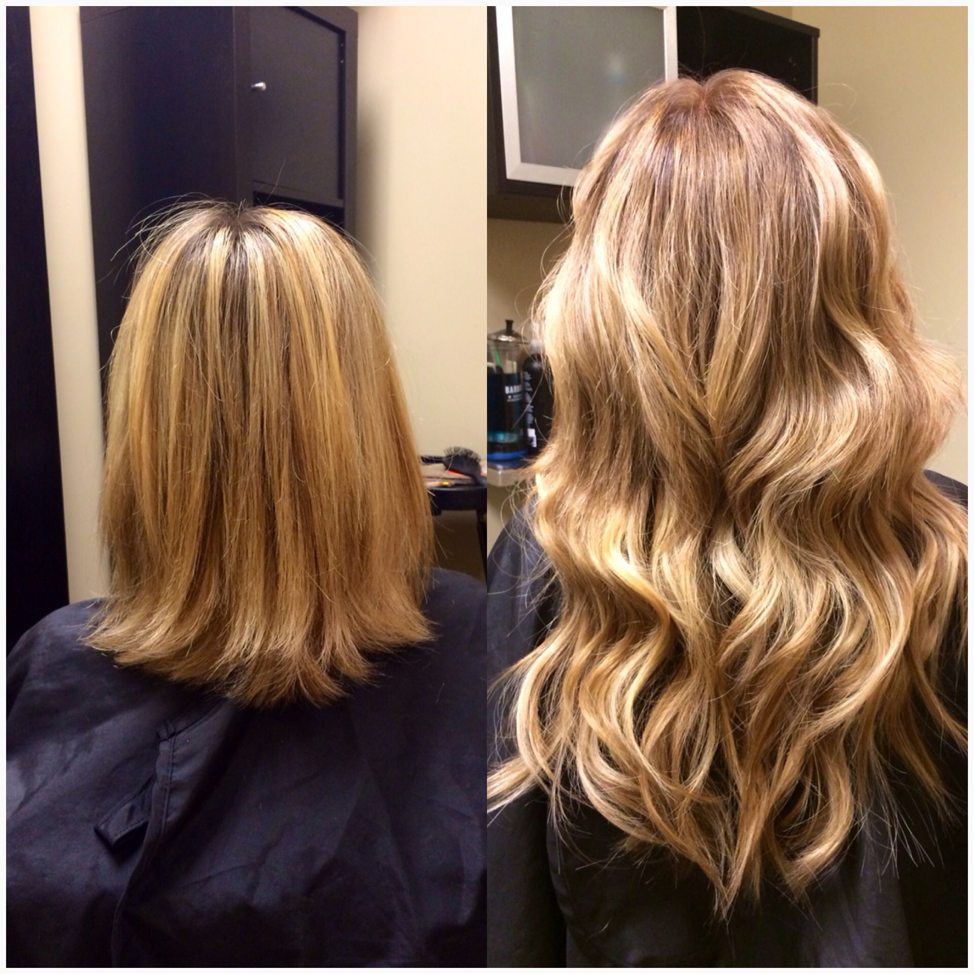 Hair extensions blonde before & after