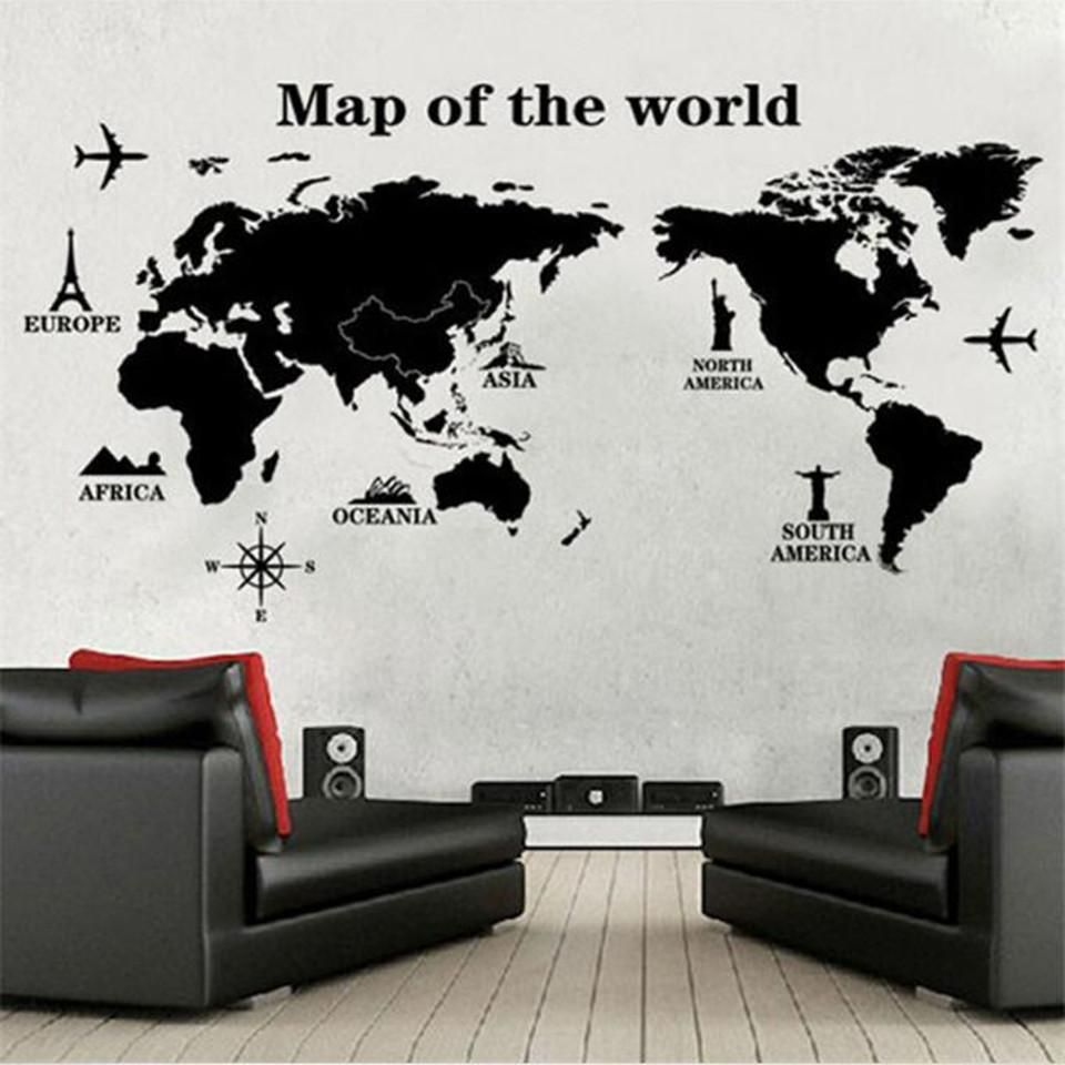 Black large world map wall sticker decal 60120cm big vinyl wall black large world map wall sticker decal 60120cm big vinyl wall stickers home decor gumiabroncs Choice Image