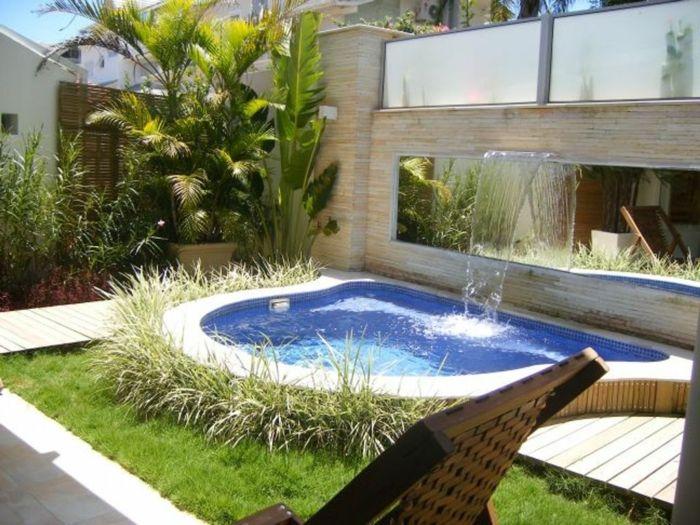 garten gestalten bilder schwimmbad wasserfall Wasser im Feng - garten anlegen mit pool