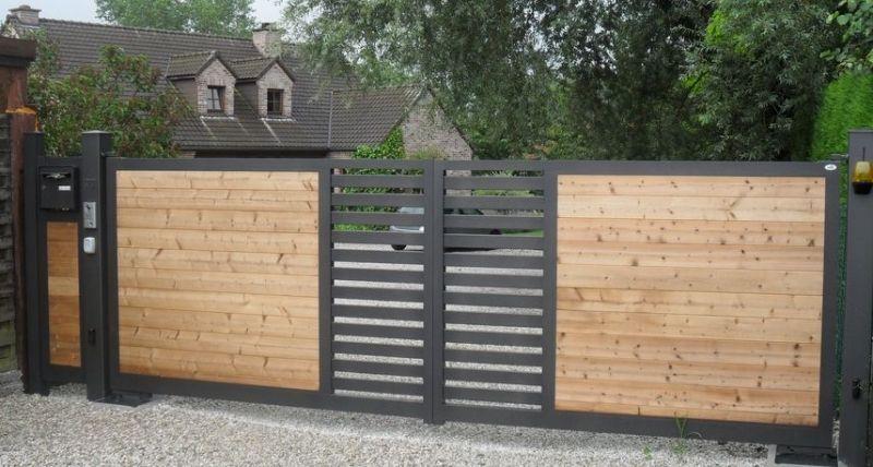 Portail bois alu portail en 2019 portail bois portail et portail coulissant - Portail maison moderne ...