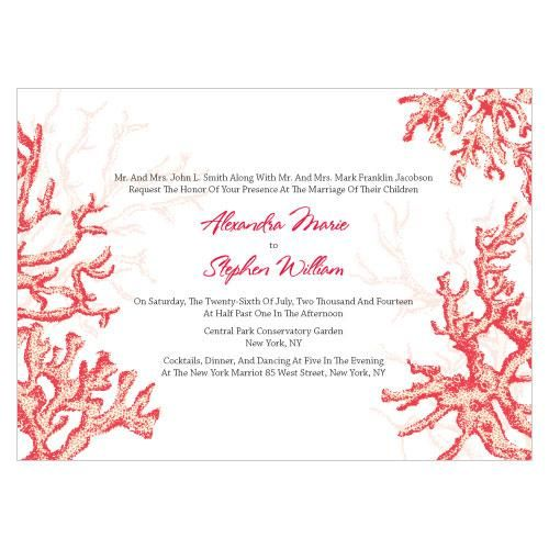 Reef Coral Wedding Invitation features a white background with a soft coral design and colorful coral accents. It is available in eight colors. White envelopes are included with your purchase.