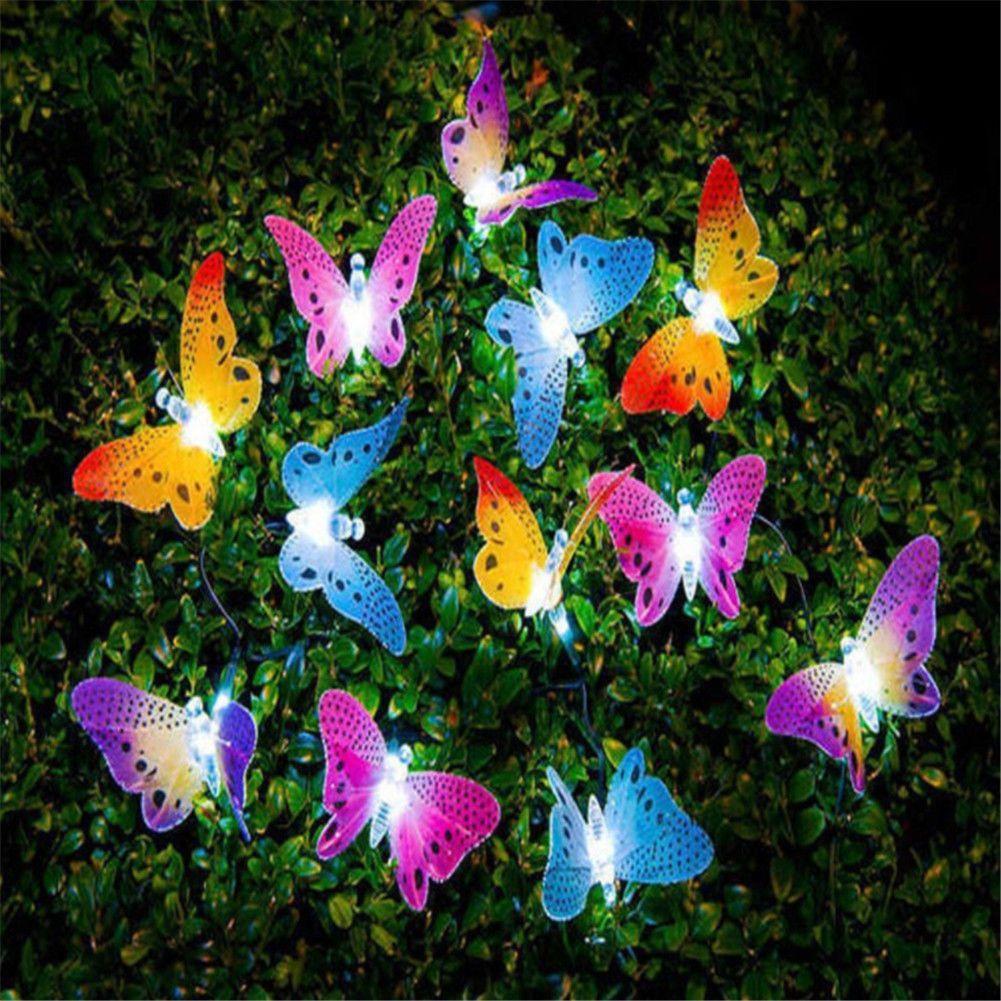 $9.89 AUD - 12Led Solar Power Light Butterfly Fiber Optic Fairy ...