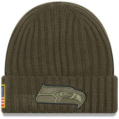80f3f370fbd Men s Seattle Seahawks New Era Olive 2017 Salute To Service Cuffed Knit Hat